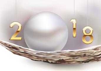 2018 - carte de vœux - vœux - année - perle - féminin - concept - précieux