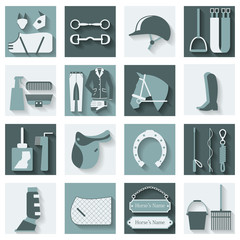 Set of 16 flat vector icons with different horse and riding equipment