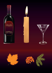 Autumn still life - red wine - glass - candle wax - yellow maple leaf - bunch of mountain ash - on a dark red background - art creative modern vector illustration