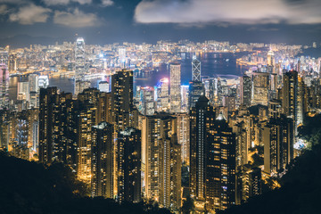 Hong Kong in Kowloon area skyline view from Victoria Peak in Hong Kong..