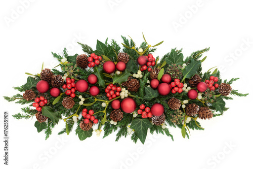 Christmas Table Decoration With Red Bauble Decorations Holly Ivy