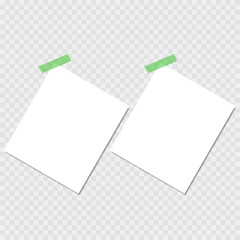 Clear list of paper with sticky tape on the white background