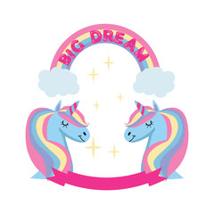 Magic unicorn and rainbow poster, greeting card background with Unicorn head, rainbow