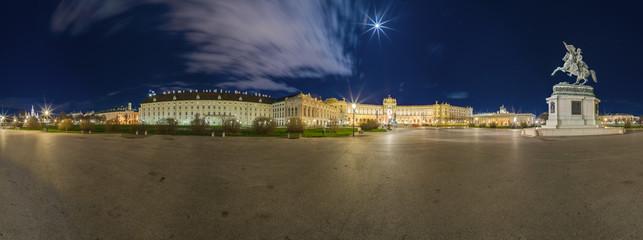 Heldenplatz Wien in der Nacht (Panorama)