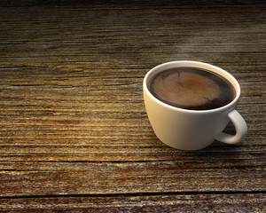 The white cup of black brewed coffee on wooden table. 3D render.