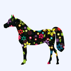 Painted vector horse on white background