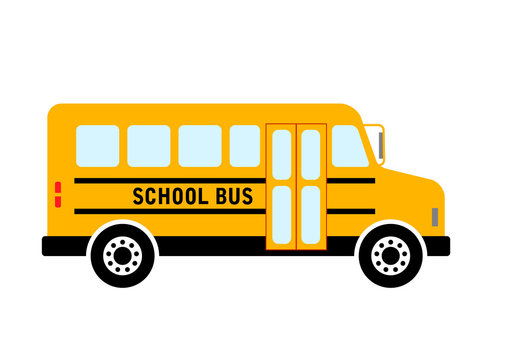 School bus vector icon on white background, isolated object