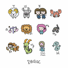 Zodiac cute cartoon vector illustration