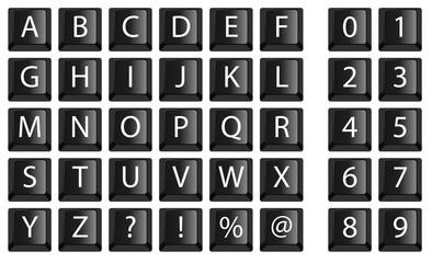 alphabet - touche d'ordinateur - typographie - chiffre - typo - lettre
