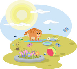 abstract illustration of  red cat with toys on the meadow in Sunny day