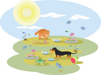abstract illustration of Dachshund dog and a red cat with toys on the meadow in Sunny day