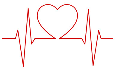 Heart pulse, one line - EKG -  cardiogram