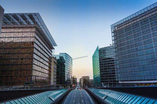 Sunrise in European Quarter in Brussels
