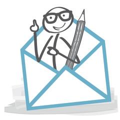 Strichmännchen nimmt Kontakt auf und schreibt Brief - Briefumschlag