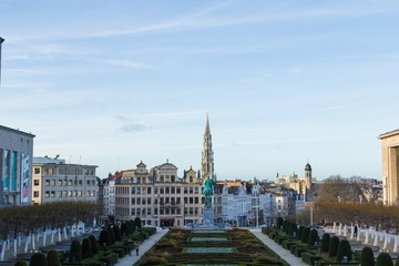 Foto op Canvas Brussel Brussels panorama view (Mont des Arts)