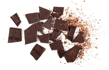 chocolate bars, pieces with shavings isolated on white background, top view