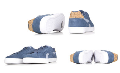 Blue sneakers isolated on white background,a pair of blue sneakers for jeans