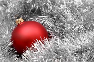 christmas ball on tinsel