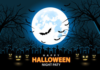 Happy Halloween night party design holiday festival background vector illustration.