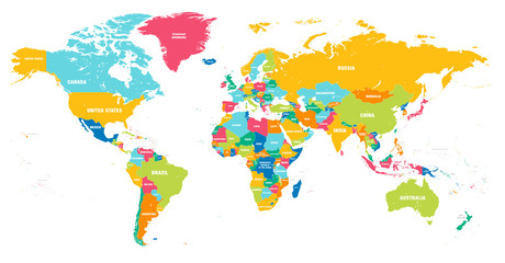 Poster de jardin Carte du monde Colorful Vector world map