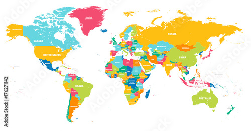 Wall mural Colorful Vector world map