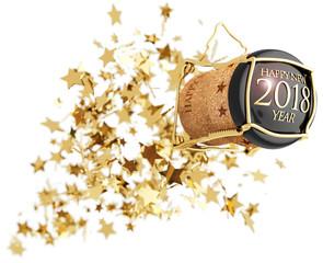 champagne bottle cork popping above golden stars explosion