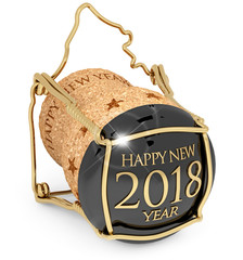 2018 New Year's champagne bottle cork isolated