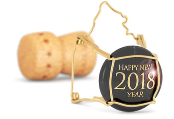 "champagne cork ""happy new year "" isolated on white"