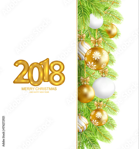 2018 Merry Christmas and Happy New Year card with fir-tree border ...