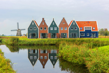 Volendam is a town in North Holland in the Netherlands. Colored houses of marine park in Volendam. North Holland, Netherlands.. Wall mural