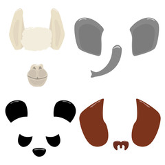 Set of cartoon animal masks. Vector hand drawn illustration.