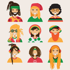 Set with vector rastafarian men, isolated on background. Lovely flat cartoon characters in bright colors.