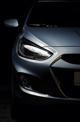 Close-up of modern car headlights