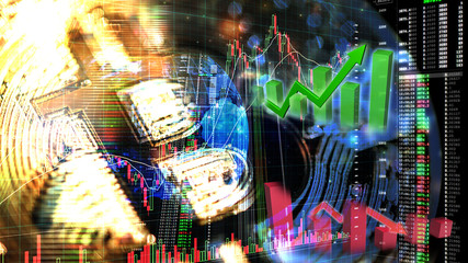 bitcoin trading exchange stock market investment, forex with trend of graph, price and candle stick chart, 3D illustration of stock crypto currency analysis graph, abstract background