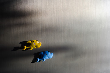 Toy fishes on the fridge