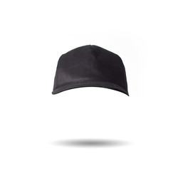black baseball cap on white background isolated, mock up, free space, logo presentation , template for print,  design