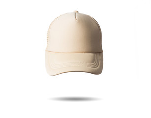 white beige baseball cap on white background isolated, mock up, free space, logo presentation, template for print,  design