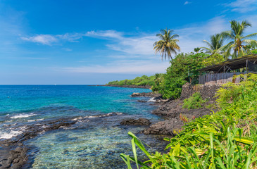 Fototapete - View on the ocean and Rocky coast line, Big Island, Hawaii