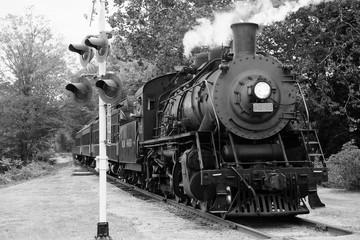 Steam train 10 in black and white