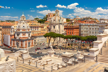 Fototapeten Rom Piazza Venezia, Ancient ruins of Trajan Forum, Trajan Column and churches Santa Maria di Loreto and Most Holy Name of Mary as seen from Altar of the Fatherland in Rome, Italy