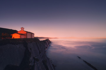 San Telmo chapel in Zumaia at night. Gipuzkoa, Basque Country