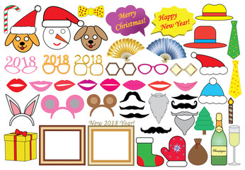 New 2018 year (Christmas) party set, icons. Vector.