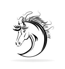 Horse portrait silhouette, icon vector