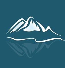 Mountain climbing landscape background, icon vector