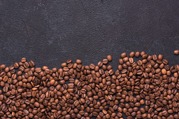 Coffe beans on black background