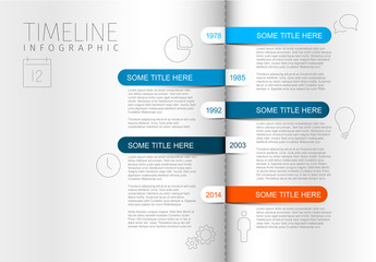 Open Book Timeline Infographic Layout