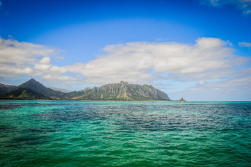 Kaneohe Sandbar near the Island of Oahu, Hawaii