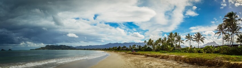 Storm Approaches on Sunny Day Over Kailua Beach
