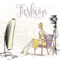 Wall Mural - Fashion backstage during shooting with beauty model woman in the studio, vector illustration background