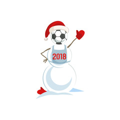 Snowman with soccer ball icon. Clorful cute cartoon man from snow in father Santa Claus hat. Design idea for football match, sport game or template season greeting card for 2018. Vector illustration